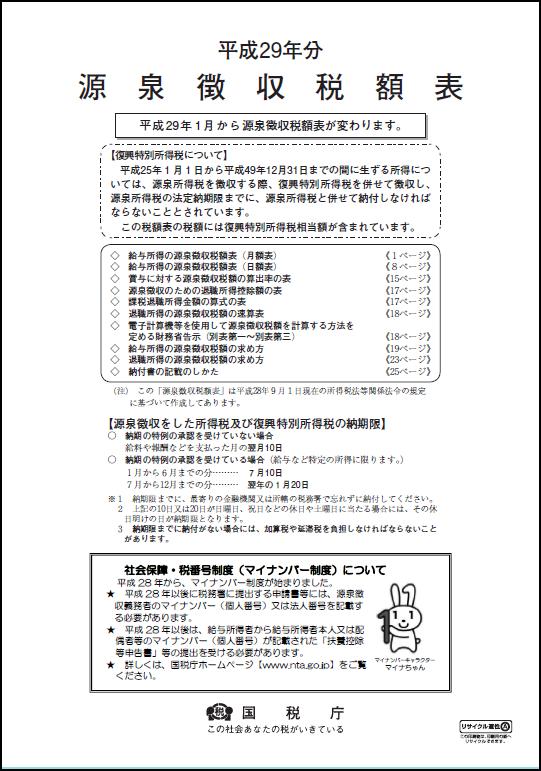 平成29年分源泉徴収税額表