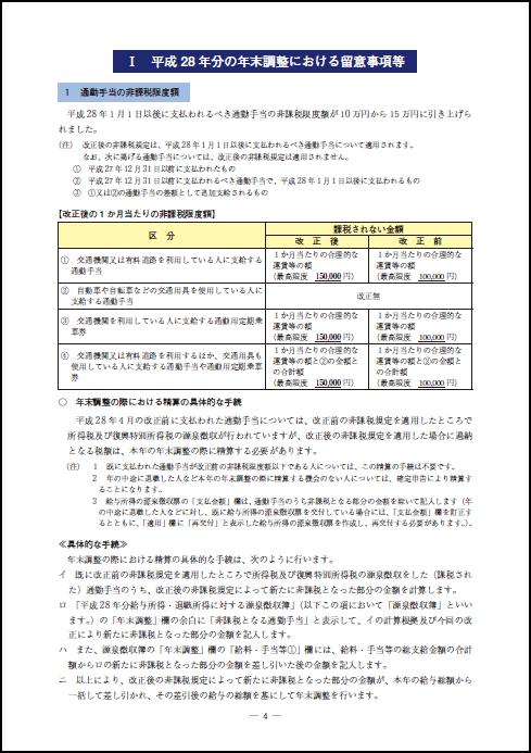 平成28年分の年末調整における留意事項等
